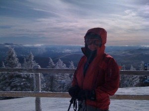 Meg at top of Quad on Christmas Eve Day