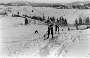 Riding a rope tow