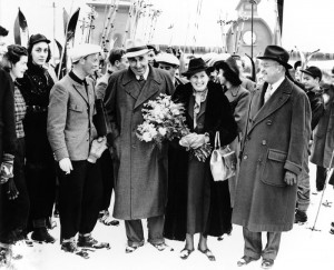 Hannes Schneider arrives in North Conway, New Hampshire. (Photo courtesy of North Conway Public Library)