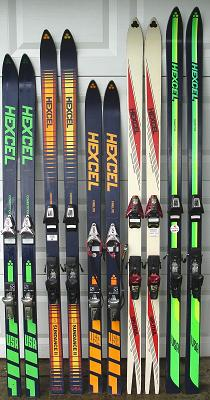 A collection of Hexcel Skis