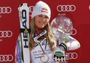 Lindsey Vonn with her Fourth World Cup