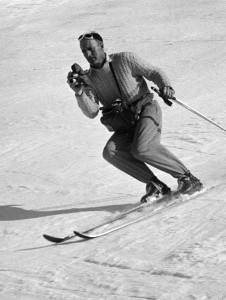 John Jay filming while skiing