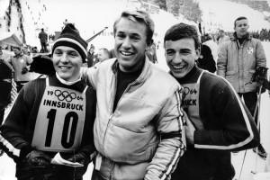Bob Beattie with Billy Kidd and Jimmy Heuga 1964 Olympics