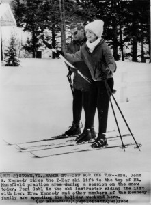 Jackie Kennedy Riding Mt Mansfield T-Bar 1964