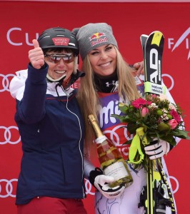 Annemarie Moser-Proell and Lindsey Vonn