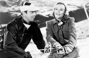 Roger Payne and Sonja Henie on the slopes