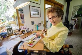 Jill Kinmont Boothe in her home art studio